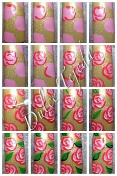photo tutorial for painting roses. #nailart #diy