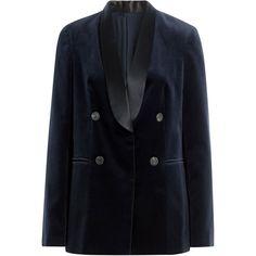Brunello Cucinelli Cotton Velvet Blazer (€1.940) ❤ liked on Polyvore featuring outerwear, jackets, blazers, blue, blue jackets, tailored blazer, brunello cucinelli, brunello cucinelli jacket and long sleeve blazer