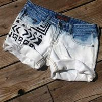 The Wanderlust Short - Tribal Aztec Print in Black, Bleached & Destroyed Ombre Cuffed Denim Cut Off