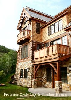 PrecisonCraft Log & Timber homes, love their work! Log Cabin Homes, Log Cabins, Log Houses, Timber House, Cabins And Cottages, Mountain Homes, New House Plans, The Ranch, My Dream Home