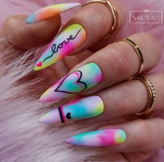 Colored Acrylic Nails, Diy Acrylic Nails, Cute Acrylic Nail Designs, Summer Acrylic Nails, Simple Nail Designs, Edgy Nails, Neon Nails, Stylish Nails, Swag Nails