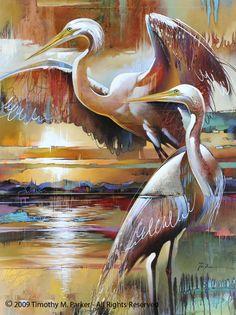 """Abstract Bird Painting, Contemporary Art, """"Great Egret Evening"""" Artist Tim Parker - Art2D Gallery, Modern Art Original Paintings and Fine Art Prints"""