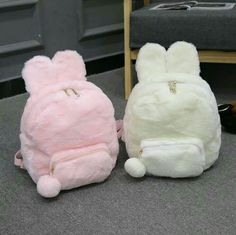 Cute Mini Backpacks, Stylish Backpacks, Leather Backpacks, Leather Bags, Kawaii Bags, Kawaii Clothes, Fluffy Bunny, Bunny Plush, Mini Mochila