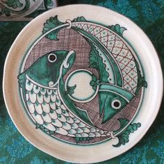 Ceramic plate decorated with majolica technique in medieval style.