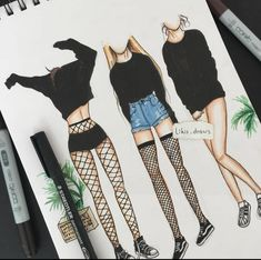 Unique and Creative Grunge Outfits Colored Pencils Ink Klasse - . - Unique and Creative Grunge Outfits Colored Pencils Ink Class – Fashion Design Sketchbook, Fashion Design Drawings, Fashion Sketches, Pencil Art Drawings, Art Drawings Sketches, Tumblr Drawings Grunge, Grunge Outfits, Grunge Clothes, Mode Outfits