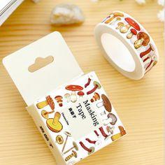 Various Mushroom washi tape DIY decoration scrapbooking masking tape adhesive tape kawaii stationery Scrapbook Stickers, Diy Scrapbook, Planner Stickers, Tapas, Diy Crafts For Gifts, Cute Crafts, Art Craft Store, Craft Stores, Tape Masking