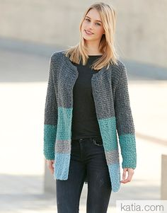 Vrijdag Katia Merino-Aran Vest - www. Knit Wrap Pattern, Crochet Cardigan Pattern, Jacket Pattern, Knit Cardigan, Winter Jackets Women, Coat Patterns, Striped Knit, Crochet Clothes, Pulls