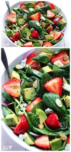 Avocado Strawberry Spinach Salad with Poppyseed Vinaigrette