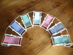 7 deckchair garland, here in classic seaside stripes. Approx 1.5m wide
