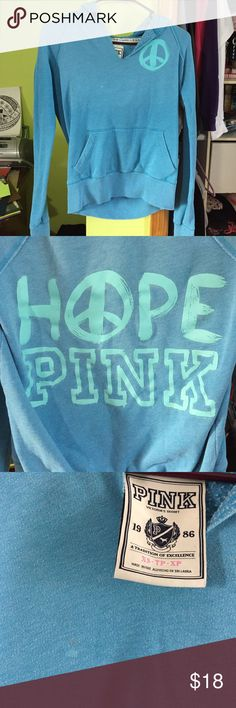 Victoria's Secret/Pink Hoodie Preowned and in good condition. Minor flaw, tiny little bleach stain on the front. See picture. Size XS. PINK Victoria's Secret Sweaters V-Necks