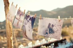 love this display of engagement photographs