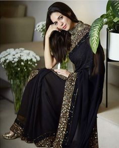 Sarees Online - Buy Latest collection of Fancy Sarees, Designer Sarees, Bollywood Sarees Online in India. Wide range of Saris for every occasion like wedding, festivals, sangeet. Pakistani Dresses, Indian Sarees, Indian Dresses, Georgette Saree Party Wear, Saree Dress, Georgette Fabric, Georgette Sarees, Trendy Sarees, Stylish Sarees