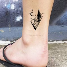 Cool Black Nature Ankle Tattoo Ideas for Women Diamond Mountain Tree Moon Tat -. Small Nature Tattoo, Geometric Tattoo Nature, Small Mountain Tattoo, Geometric Tattoos Men, Mother Nature Tattoos, Tattoo Small, Ankle Tattoos For Women, Tattoos For Guys, Montain Tattoo