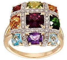 3.60 cttw Multi-Gemstone 1/5 ct tw Diamond Ring 14K Gold