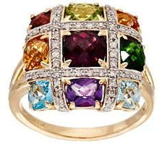 3.60 cttw Multi-Gemstone 1/5 ct tw Diamond Ring 14K Gold