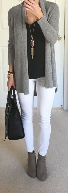 Gray cardigan over black top and white jeans with gray booties.