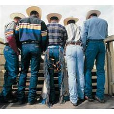 Cowboys in Wranglers... Add a starched shirt, a good country song, and they will melt your heart when they flash their smile!