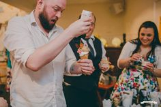 Wedding guests enjoying their homemade ice cream sundae bar treats. Plumhoneychurch.com ice cream tricycle. Sundae Bar, Homemade Ice Cream, Tricycle, Special Events, Plum, Treats, Wedding, Sweet Like Candy, Valentines Day Weddings