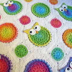 Crochet blanket with owls