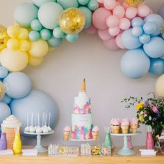 Closer look at Ava's Ice Cream party. If you missed the vlog, link is in bio! All details are below ☺️ Balloon Arch… First Birthday Parties, Birthday Party Decorations, Girl Birthday, Birthday Ideas, Pastel Party Decorations, Unicorn Birthday, Birthday Cakes, Balloon Garland, Balloon Arch