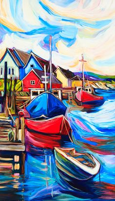 Fishing Town by Julia Veenstra Oil Painting App, Stone Painting, Painting Tips, O Keeffe Paintings, Vaporwave Wallpaper, Boat Art, Beautiful Nature Wallpaper, Coastal Art, Colorful Paintings