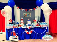 Red, white, and blue nautical birthday party! See more party ideas at CatchMyParty.com!