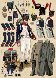 Napoleonic French Line Infantry uniforms Military Art, Military History, First French Empire, Army Uniform, Military Uniforms, Warrior Paint, British Uniforms, Battle Of Waterloo, Seven Years' War