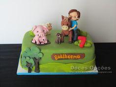 Doces Opções: Um aniversário com os animais da quinta Mj, Toy Chest, Storage Chest, Cake, Design, Decor, Food Cakes, Animales, Agriculture