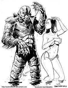 #INKtober 6: Creature from the Black Lagoon by AxelMedellin.deviantart.com on @deviantART