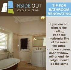 Keep the horizontal line at the top of the bathroom the same - shower screen, window, mirror and tile height should be the same.