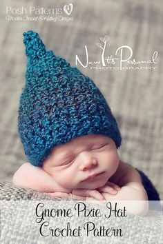 Crochet Pattern - This adorable Gnome Pixie Hat crochet pattern is perfect for boys and girls. Includes all sizes. By Posh Patterns.