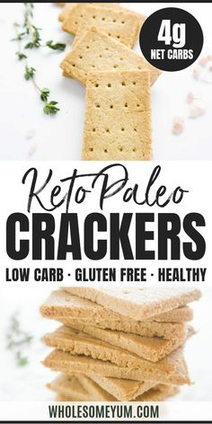 Keto Paleo Low Carb Crackers Recipe with Almond Flour - 3 Ingredients - These crunchy buttery paleo crackers have just 3 simple ingredients. If you're looking for an easy keto low carb crackers recipe this is the one! Keto Crackers Recipe, Low Carb Crackers, Keto Crisps, Healthy Crackers, Low Carb Keto, Low Carb Recipes, Healthy Recipes, Snack Recipes, Bread Recipes