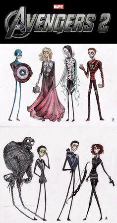 If Tim Burton Designed The Avengers - TechEBlog