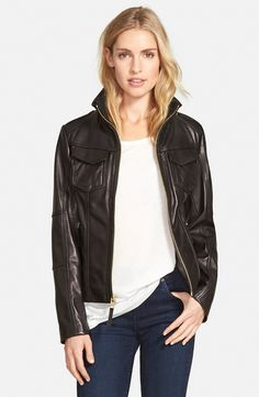 MICHAEL Michael Kors Zip Front Lambskin Leather Jacket (Regular & Petite) | Nordstrom