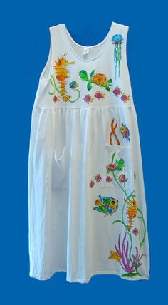 Handpainted Sleeveless Sealife Dress with by DeborahWillardDesign
