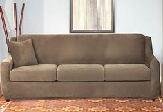 Sure Fit Slipcovers Stretch Piqué 3 Seat Sleeper Sofa - 3 Seat Sleeper Sofa    $139