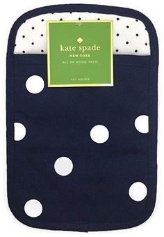 Kate Spade All In Good Taste - Navy Blue Polka Dot print Pot Holder! French Navy Pot Holder- 7 x 10 inches Shell- Cotton Lining- Polyester Machine wash cold This item comes from a smoke free and pet free home. Pot Holders, Dot Patterns, Lunch Box, Bee, Polka Dots, Kate Spade, Navy Blue, Gifts, York