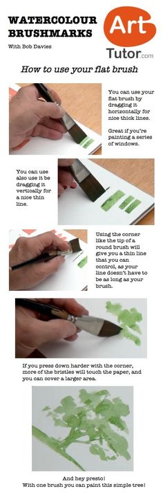 How to use your flat brush in watercolour. For more watercolour tips and techniques, and to see the video of this lesson, go to www.arttutor.com/blog #watercolour