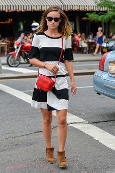 Olivia Wilde Out in the East Village #stripes #red #BW
