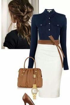 blue shirt/cream shirt