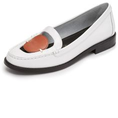 Opening Ceremony Addell Penny Loafers (1,250 ILS) ❤ liked on Polyvore featuring shoes, loafers, paris white, polish shoes, small heel shoes, opening ceremony shoes, white leather loafers and white leather shoes
