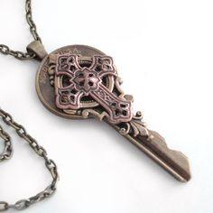 Key Necklace Handmade Jewelry - Key to the Kingdom - Cross Pendant.