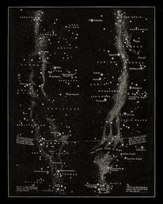 Milky Way with Constellations Antique Celestial Print, Vintage Constellations…