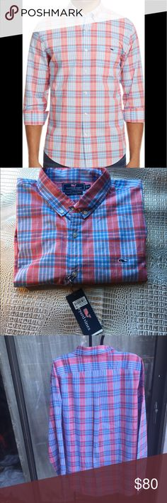 VINEYARD VINES HARRIGANS SLIM FIT SHIRT A pleasing plaid and even more pleasing fit make this men's slim-fit sport shirt a go-to choice.  Vineyard Vine's new Slim Fit features trimmed-down tailoring in the body, sleeve, and shoulder, along with a shorter shirttail hem that wears great tucked in or untucked Vineyard Vines Shirts Casual Button Down Shirts