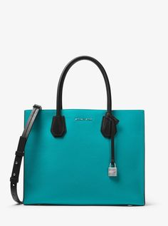 9a35b848a0 Michael Kors mercer large convertible tote Color-Block Leather teal blue NWT   MichaelKors