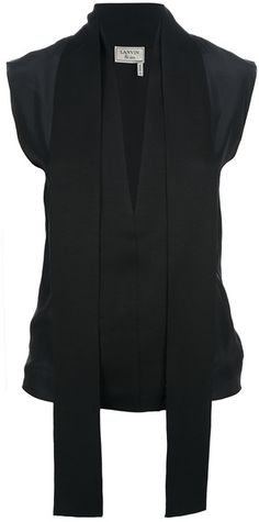 LANVIN  Black silk sleeveless blouse featuring an open plunging v-neck collar with side hanging panels and a concealed front fastening.