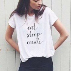 SALE  Eat sleep create graphic tee black white That's all i want to do! Eat good food, sleep, and create beautiful things! Tee avail in every size xs s m l & xl. Ships immediately. Regular tee material (also available in the prints featured in pic 2-4) For more style inspiration follow my blog:  WearInLA.com    IG: @wearinla Twitter: @wearinla Pinterest : @wearinla Wear In LA Tops Tees - Short Sleeve