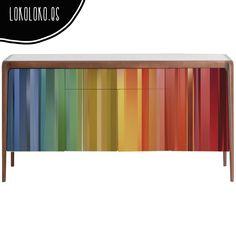 Vinilo de franjas de colores para redecorar el aparador / Vinyl of colour bands for your sideboard. #lokolokodecora #vinyldecor #viniloaparadores