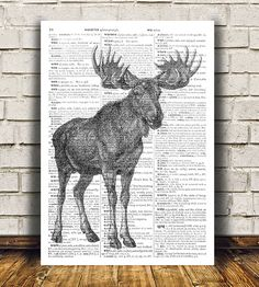 Moose decor Animal print Antlers poster Dictionary print