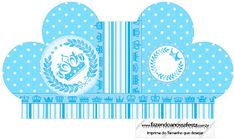 Light Blue Crown in Stripes and Polka Dots  Free Printable Boxes for a Quinceanera Party. Quinceanera Decorations, Quinceanera Party, Printable Box, Free Printables, Dots Free, Box Invitations, Pillow Box, For Your Party, Birthday Party Decorations